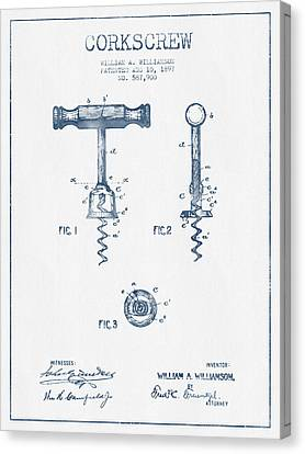 Corkscrew Patent Drawing From 1897 - Blue Ink Canvas Print by Aged Pixel