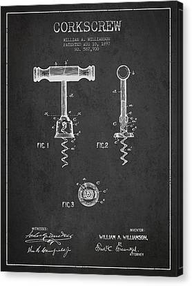 Corkscrew Patent Drawing From 1897 - Dark Canvas Print by Aged Pixel