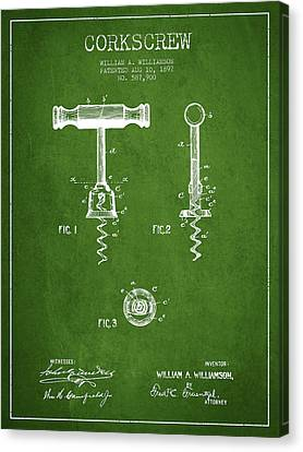 Corkscrew Patent Drawing From 1897 - Green Canvas Print by Aged Pixel
