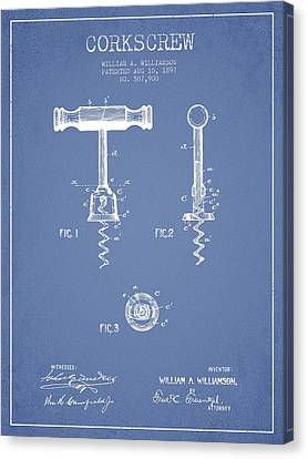 Corkscrew Patent Drawing From 1897 - Light Blue Canvas Print by Aged Pixel