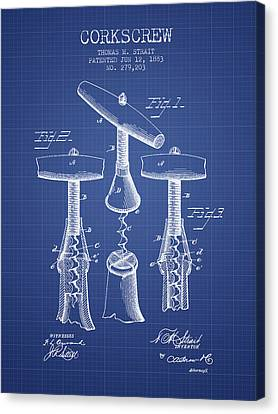 Corkscrew Patent From 1883- Blueprint Canvas Print by Aged Pixel