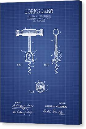 Corkscrew Patent From 1897 Blueprint Canvas Print by Aged Pixel