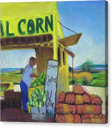 Corn And Oysters Farmstand Canvas Print by Susan Herbst