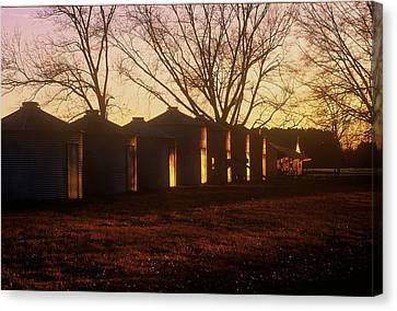 Canvas Print featuring the photograph Corn Cribs At Sunset by Rodney Lee Williams