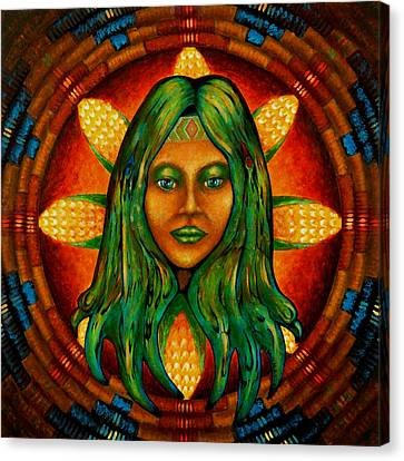 Corn Maiden Canvas Print by Kevin Chasing Wolf Hutchins