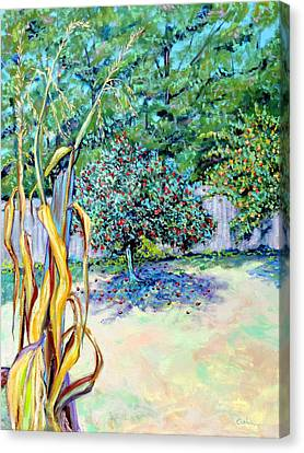 Canvas Print featuring the painting Corn Stalk And Apple Tree  Autumn Lovers by Asha Carolyn Young