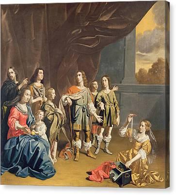 Matron Canvas Print - Cornelia And Her Jewels Oil On Canvas by Jan van Bijlert or Bylert