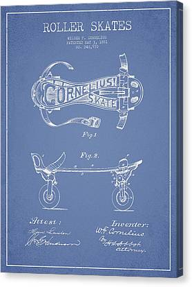 Cornelius Roller Skate Patent Drawing From 1881 - Light Blue Canvas Print by Aged Pixel