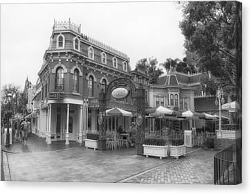 Corner Cafe Main Street Disneyland Bw Canvas Print by Thomas Woolworth