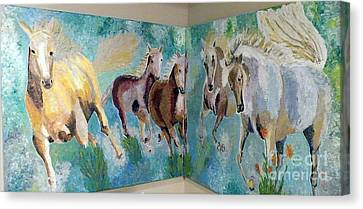 Canvas Print featuring the painting Corner Horses by Vicky Tarcau