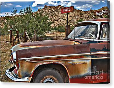 Canvas Print featuring the photograph Corner Of Brake And Burmashave by Lee Craig