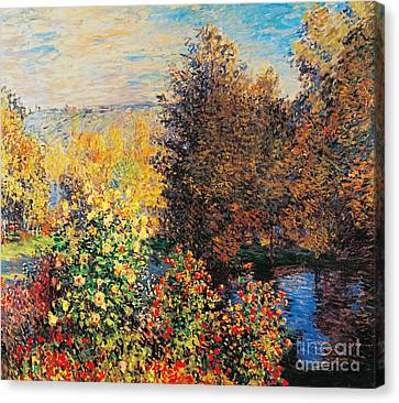 Corner Of Garden In Montgeron Canvas Print by Claude Monet