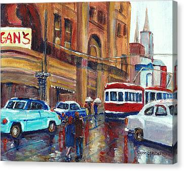 Corner St.catherine And Union Streets-fifties Montreal-vintage Street Scene Canvas Print by Carole Spandau