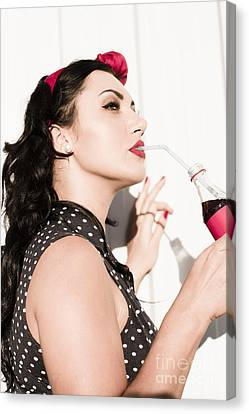 Corner Store Pinup Girl Sipping On Summer Soda Canvas Print by Jorgo Photography - Wall Art Gallery