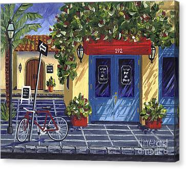 Canvas Print featuring the painting Corner Store by Val Miller