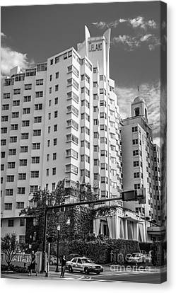 Corner View Of Delano Hotel And National Hotel - South Beach - Miami - Florida - Black And White Canvas Print by Ian Monk