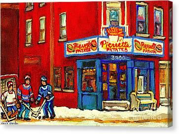 Cornerstore Hockey Game In Verdun Pierrette Patates Restaurant Montreal Verdun Winter Hockey Scenes Canvas Print by Carole Spandau