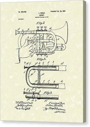 Cornet 1899 Patent Art Canvas Print by Prior Art Design