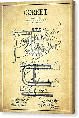 Cornet Patent Drawing From 1899 - Vintage Canvas Print by Aged Pixel