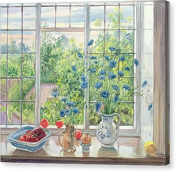 Cornflowers And Kitchen Garden Canvas Print by Timothy Easton
