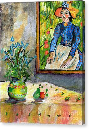 Cornflowers In French Pottery And Van Gogh Painting On Wall Canvas Print by Ginette Callaway