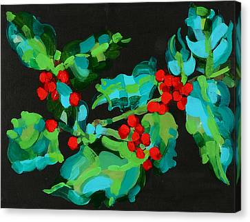 Holly Berry Still Life Canvas Print - Cornish Christmas  by Deborah Barton