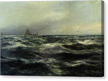 Cornish Sea And Working Boat Canvas Print by Charles William Hemy