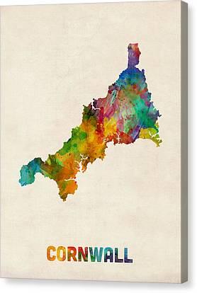 Cornwall England Watercolor Map Canvas Print