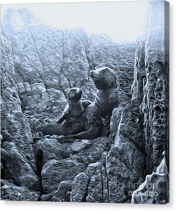 Corona Del Mar Seals Statue - Black And White Canvas Print by Gregory Dyer