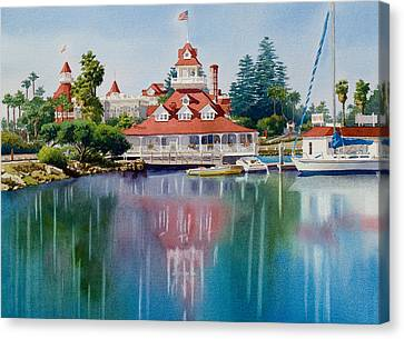 Coronado Boathouse Reflected Canvas Print by Mary Helmreich