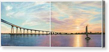 Coronado Bridge Sunset Diptych Canvas Print