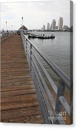 Coronado Pier Overlooking The San Diego Skyline 5d24354 Canvas Print by Wingsdomain Art and Photography