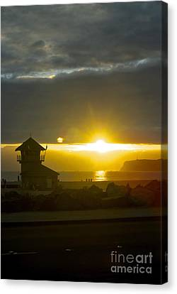 Coronado's Beach At Sunset Canvas Print by Claudia Ellis