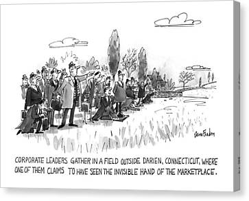 Corporate Leaders Gather In A Field Canvas Print