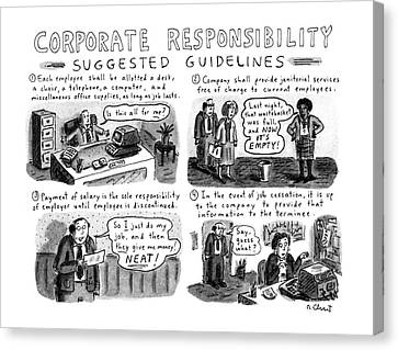 Corporate Responsibility Suggested Guidelines Canvas Print by Roz Chast