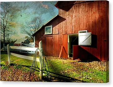 Horse Stable Canvas Print - Corral by Diana Angstadt