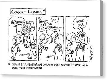 Correct Comics* *drawn By A Vegetarian Canvas Print by Sidney Harris