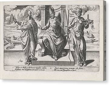 Corrupt Rulers And The Spanish Inquisition Commit Murder Canvas Print by Dirck Volckertsz Coornhert And Adriaan De Weerdt And Hendrick Hondius I