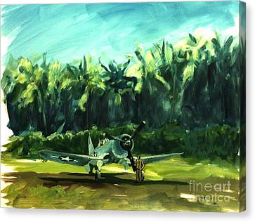 Canvas Print featuring the painting Corsair In Jungle by Stephen Roberson