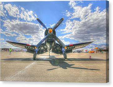 Corsair On The Flight Line At Reno Air Races Canvas Print