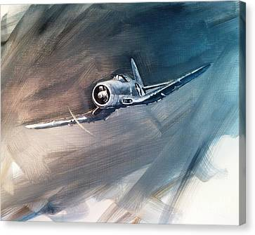 Canvas Print featuring the painting Corsair Sketch 1 by Stephen Roberson