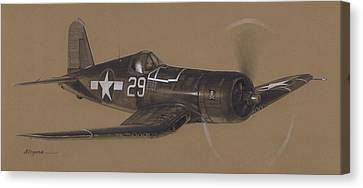 Navy Canvas Print - Corsair Triple Ace by Wade Meyers