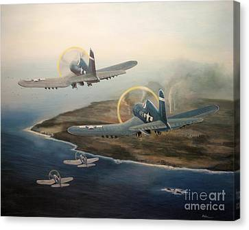 Canvas Print featuring the painting Corsairs Over Iwo by Stephen Roberson