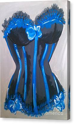 Canvas Print featuring the painting Corset Blue Lace by Marisela Mungia