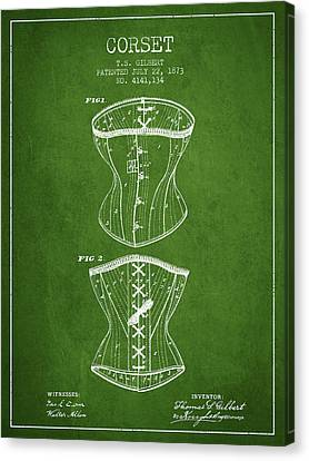 Corset Patent From 1873 - Green Canvas Print by Aged Pixel