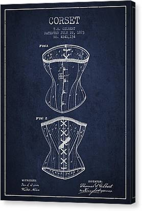Corset Patent From 1873 - Navy Blue Canvas Print by Aged Pixel