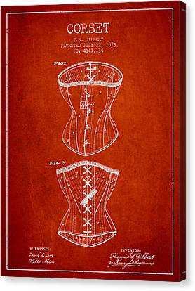 Corset Patent From 1873 - Red Canvas Print by Aged Pixel