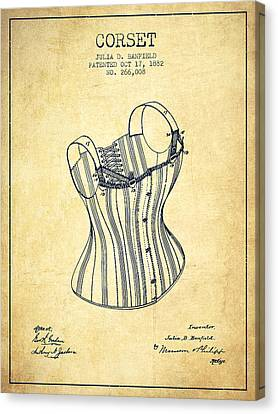 Corset Patent From 1882 - Vintage Canvas Print by Aged Pixel