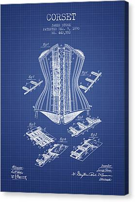 Corset Patent From 1890 - Blueprint Canvas Print by Aged Pixel