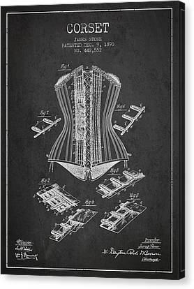 Corset Patent From 1890 - Dark Canvas Print by Aged Pixel